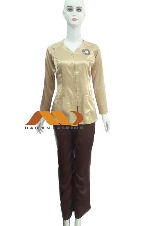 Đồng phục nhân viên spa trắng phối xanh as0027