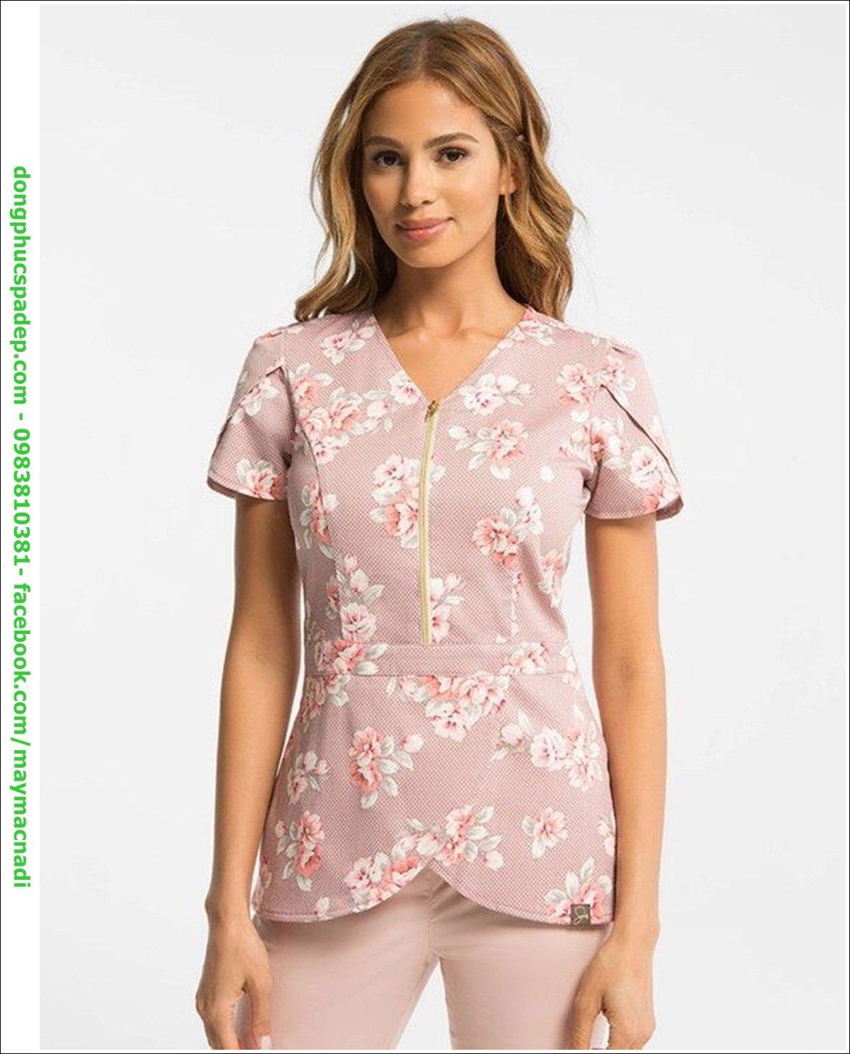 Sử dụng tông màu chủ đạo - hồng baby. Cách điệu bằng áo vải họa tiết hoa, màu sắc tương tự. Trông mới lạ và xinh đẹp vô cùng